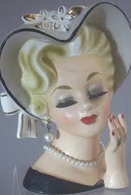 1950 vintage ladies head planters vintage rubens original