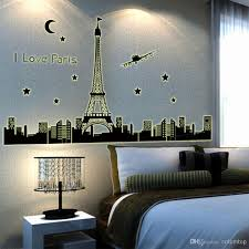 night sky eiffel tower moon star city building view of paris night sky eiffel tower moon star city building view of paris noctilucent diy wall wallpaper stickers art decor mural decal h11584 cling wall decals clings