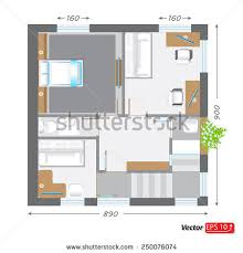 floorplan of a house part architectural project ground floor plan stock vector