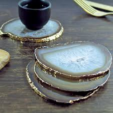 natural gold plated agate coasters set of two agate coasters