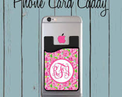 monogram personalized cell phone card caddy lilly pulitzer