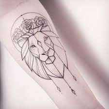 tattoo geometric outline feminine outline lion tattoo on forearm
