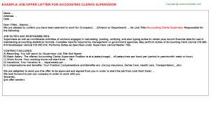 accounting clerks supervisor offer letter
