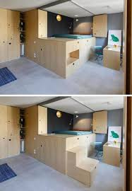lofted bedroom this small apartment is filled with creative ideas to maximize