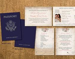wedding invitations jamaica passport wedding invitations etsy