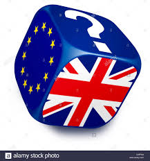 dice with european union flag uk flag and a question mark on its