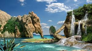 tropical waterfall hd desktop wallpaper high definition hd