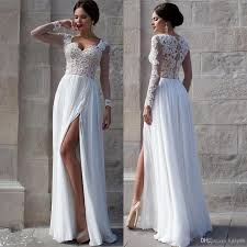 white beach wedding dresses 2015 lace bridal gowns applique sheer