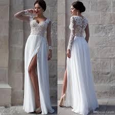 Cheap Online Wedding Dresses White Beach Wedding Dresses 2015 Lace Bridal Gowns Applique Sheer
