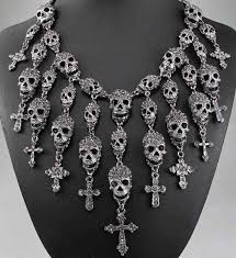 necklace skull images Badass skull necklace blue fire store jpg