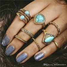 knuckle rings images Boho natural stone knuckle rings vintage tibetan geometric gold jpg