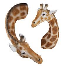 set of 2 wall mountable realistic polyresin giraffe wall