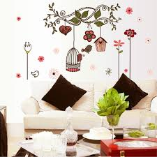 Eiffel Tower Wall Decals Beautiful Flowers Cartoon Bird Cage Vine Diy Wall Stickers Sales