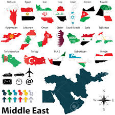 Color Of Egypt Flag Vector Of Political Map Of Middle East Set With Maps And Flags