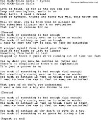 Bad Girls Lyrics Love Song Lyrics For Too Much Spice Girls
