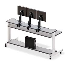 Monitor Stands For Desks Computer Desk With Three Monitor Stand Afcindustries Com