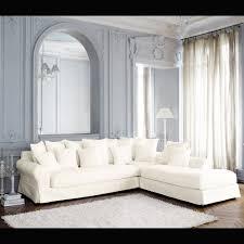 canap droit 6 places canapé d angle droit 6 places en coton ivoire maisons du monde