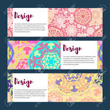 templates banners set floral mandala pattern and ornaments