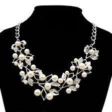 personalized gifts jewelry 1 simulated pearl necklaces pendants leaves statement
