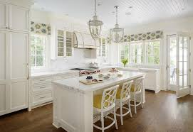 White Beadboard Ceiling by White And Yellow Kitchen With White Rattan Counter Stools