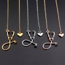 rose silver necklace images Sc 3 colors rose gold gold silver stethoscope lariat heart pendant jpg