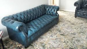 chesterfield pull out sofa chesterfield 3 seater blue leather antique sofa offers within idea 1