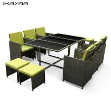 Rattan Patio Dining Set Ikayaa 11pcs 10 Seater Rattan Patio Garden Dining Set Furniture