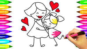 mom hugging child coloring pages mothers day colouring book for