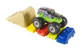 monster truck crash video amazon com wheels monster jam crash and carry arena play set
