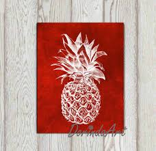 pineapple print printable red pineapple wall art large red