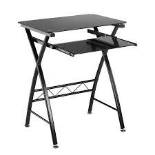 vonhaus computer desk for home black glass workstation with