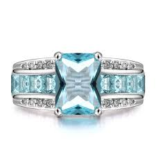 aquamarine wedding rings women s shining aquamarine engagement wedding band 14kt white