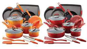 cookware black friday rachael ray 17 piece cookware set in red or orange only 97