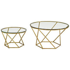 end table set of 2 geometric glass top gold 2 piece nesting coffee table set 24w41