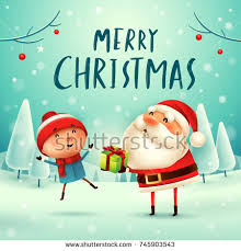 merry santa claus makes snowman stock vector 745597132
