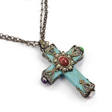 religious necklace cathedral turquoise cross necklace religious necklace sweet