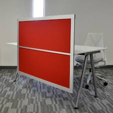 Office Desk Divider by 4 U0027 Desk Privacy U0026 Modesty Screen With Solid Red Panels Desk