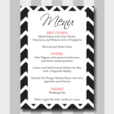 simple menu template free chevron menu card diy printable template modern traditional