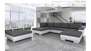 Best Sofa Beds Sydney by Bmf Tokio Maxi White Grey Corner Sofa Bed With Pouf Faux Leather