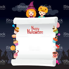 Children In Halloween Costume With Dessert On Banner Stock Vector