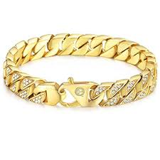 gold plated bracelet chain images Davieslee mens womens chain hiphop iced out curb cuban jpg