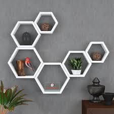 set of 6 decorative hexagon wall shelves unit white