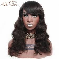 body wave hair with bangs suri hair 2 body wave african american synthetic wigs with bangs