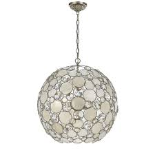 Capiz Light Pendant Crystorama Lighting Palla Antique Silver Six Light Pendant