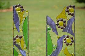 stained glass garden sculptures yard in pairs for your