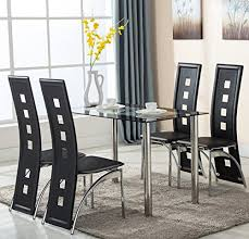 Dining Leather Chair 5 Glass Dining Table Set 4 Leather Chairs Kitchen Furniture