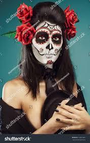 halloween make sugar skull beautiful model stock photo 193667045