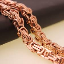 rose gold tone necklace images 4 6 8mm rose gold tone box chain byzantine necklace mens stainless jpg