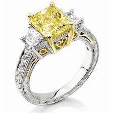 canary engagement ring 2 91 ct canary fancy yellow radiant cut engagement ring