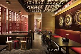 Chinese Restaurant Interior Design Idea With Touched Red And Fancy - Chinese style interior design